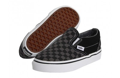 [ Black Friday 2019 ] Vans Kids Classic Slip-On Core (Toddler) (Checkerboard) Black/Pewter