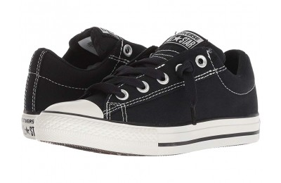 Hot Sale Converse Kids Chuck Taylor® All Star® Street Ox (Little Kid/Big Kid) Black/Lily White