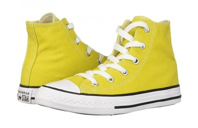 Converse Kids Chuck Taylor® All Star® Seasonal - Hi (Little Kid/Big Kid) Bold Citron/Natural Ivory/White