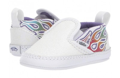 [ Hot Deals ] Vans Kids Slip-On V Crib (Infant/Toddler) (Sparkle Flame) Rainbow/True White