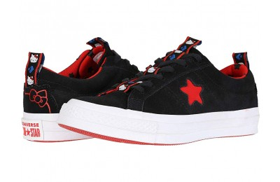 [ Hot Deals ] Converse Hello Kitty® One Star Ox Black/Fiery Red