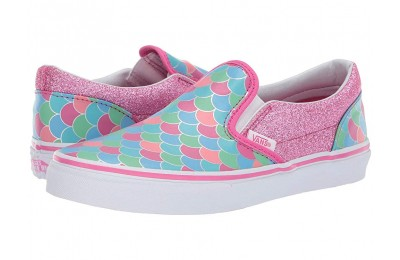 Vans Kids Classic Slip-On (Little Kid/Big Kid) (Mermaid Scales) Carmine Rose/True White
