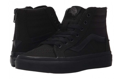 [ Hot Deals ] Vans Kids Sk8-Hi Zip (Little Kid/Big Kid) (Pop Check) Black/Black