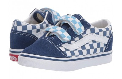 [ Black Friday 2019 ] Vans Kids Old Skool V (Toddler) (Checkerboard) True Navy/Bonnie Blue