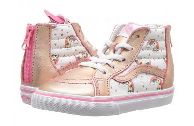 [ Hot Deals ] Vans Kids Sk8-Hi Zip (Infant/Toddler) (Unicorn Rainbow) Pink Lemonade/True White