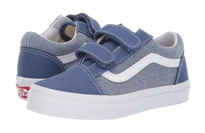 Vans Kids Old Skool V (Little Kid/Big Kid) (Chambray) Canvas True Navy/True White Black Friday Sale