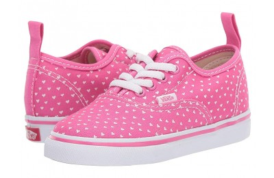 Vans Kids Authentic Elastic Lace (Toddler) (Hand Drawn Hearts) Carmine Rose/True White