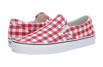 Vans Classic Slip-On™ (Gingham) Racing Red/True White Black Friday Sale