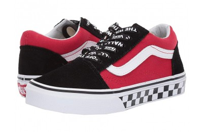 [ Hot Deals ] Vans Kids Old Skool (Little Kid/Big Kid) Logo Pop) Black/True White