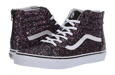 [ Hot Deals ] Vans Kids Sk8-Hi Zip (Little Kid/Big Kid) (Glitter Stars) Black/True White