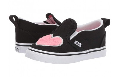 [ Hot Deals ] Vans Kids Slip-On V (Toddler) (Fur Heart) Strawberry Pink/Black