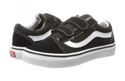 Vans Kids Old Skool V (Little Kid/Big Kid) Black/True White Black Friday Sale