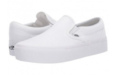 Christmas Deals 2019 - Vans Classic Slip-On Platform True White