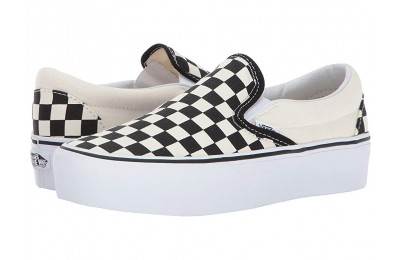 Vans Classic Slip-On Platform Black and White Checker/White Black Friday Sale