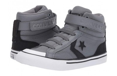 Converse Kids Pro Blaze Strap Back Court Leather - Hi (Little Kid/Big Kid) Cool Grey/Black/White