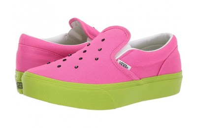 [ Hot Deals ] Vans Kids Classic Slip-On Platform (Little Kid/Big Kid) (Watermelon) Carmine Rose/Lime Green