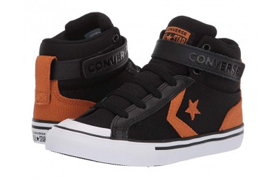 [ Hot Deals ] Converse Kids Pro Blaze Strap Back Court Leather - Hi (Little Kid/Big Kid) Black/Monarch/White