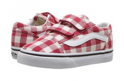 Vans Kids Old Skool V (Toddler) (Gingham) Racing Red/True White