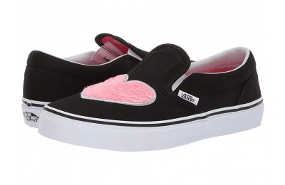 [ Black Friday 2019 ] Vans Kids Classic Slip-On (Little Kid/Big Kid) (Fur Heart) Strawberry Pink/Black