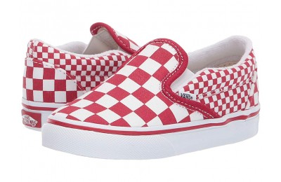 [ Black Friday 2019 ] Vans Kids Classic Slip-On (Toddler) (Mix Checker) Chili Pepper/True White