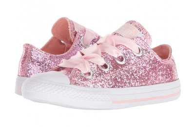 Converse Kids Chuck Taylor(r) All Star(r) Big Eyelets - Ox (Little Kid/Big Kid) Storm Pink/White/White