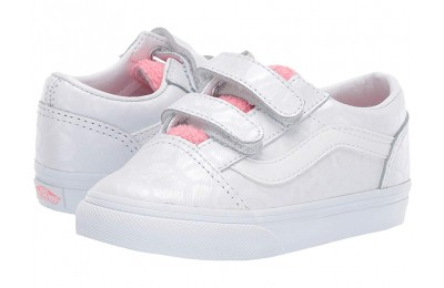 Buy Vans Kids Old Skool V (Toddler) (White Giraffe) True White/Strawberry Pink