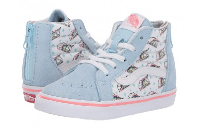 [ Hot Deals ] Vans Kids Sk8-Hi Zip (Toddler) (Unicorn) Cool Blue/True White