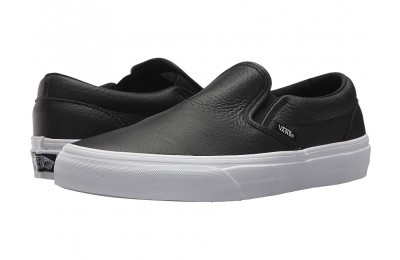 [ Hot Deals ] Vans Classic Slip-On DX (Tumble Leather) Black/True White