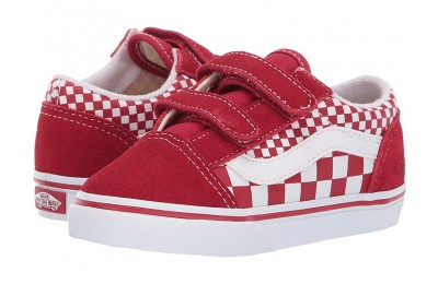[ Hot Deals ] Vans Kids Old Skool V (Toddler) (Mix Checker) Chili Pepper/True White