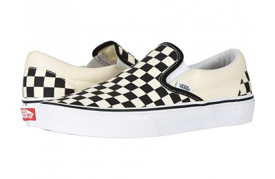 [ Hot Deals ] Vans Classic Slip-On™ Core Classics Black and White Checker/White (Canvas)