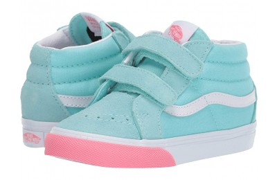 Christmas Deals 2019 - Vans Kids Sk8-Mid Reissue V (Toddler) (Color Block) Blue Tint/Strawberry Pink