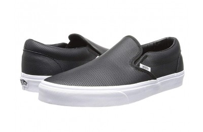 [ Hot Deals ] Vans Classic Slip-On™ Core Classics (Perf Leather) Black