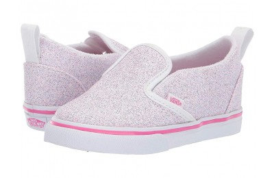 [ Hot Deals ] Vans Kids Slip-On V(Toddler) (Glitter Stars) Black/True White