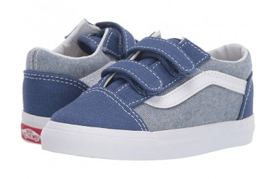 Buy Vans Kids Old Skool V (Toddler) (Chambray) Canvas True Navy/True White