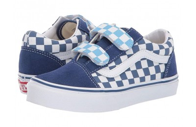 Vans Kids Old Skool V (Little Kid/Big Kid) (Checkerboard) True Navy/Bonnie Blue Black Friday Sale