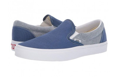 [ Hot Deals ] Vans Classic Slip-On™ (Chambray) Canvas True Navy/True White