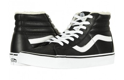 Vans SK8-Hi Reissue (Leather/Fleece) Black/True White 2