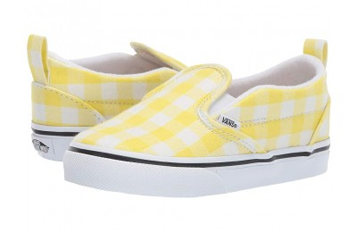 [ Hot Deals ] Vans Kids Slip-On V (Toddler) (Gingham) Blazing Yellow/True White