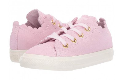 Converse Kids Chuck Taylor® All Star® Scalloped Suede - Ox (Infant/Toddler) Pink Foam/Pink Foam/Brass