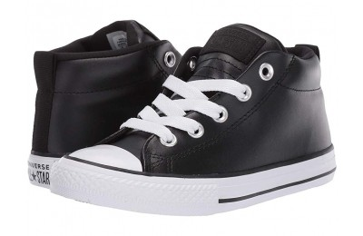 [ Black Friday 2019 ] Converse Kids Chuck Taylor All Star Street - Mid (Little Kid/Big Kid) Black/Black/White