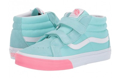 [ Hot Deals ] Vans Kids SK8-Mid Reissue V (Little Kid/Big Kid) (Color Block) Blue Tint/Strawberry Pink