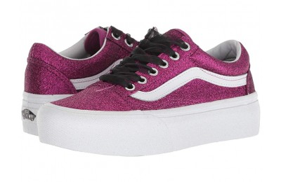 [ Hot Deals ] Vans Old Skool Platform (Glitter) Wild Aster/True White