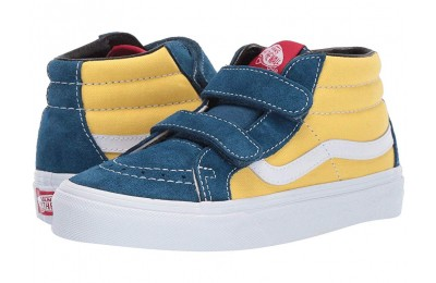 [ Hot Deals ] Vans Kids SK8-Mid Reissue V (Little Kid/Big Kid) (Retro Skate) Sailor Blue/Aspen Gold