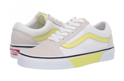 Vans Old Skool (Color Block) True White/Sunny Lime Black Friday Sale