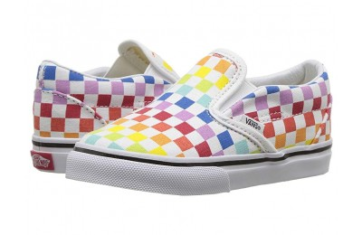 Vans Kids Classic Slip-On (Infant/Toddler) (Checkerboard) Rainbow/True White Black Friday Sale
