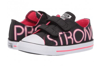 Converse Kids Chuck Taylor All Star Pretty Strong 2V - Ox (Infant/Toddler) Black/Racer Pink/White