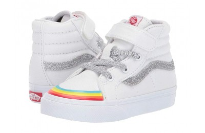 [ Hot Deals ] Vans Kids SK8-Hi Reissue 138 V (Infant/Toddler) (Rainbow Toe Cap) True White/Silver 2