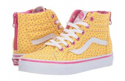 Vans Kids Sk8-Hi Zip (Little Kid/Big Kid) (Hand Drawn Hearts) Aspen Gold/True White