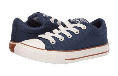 Christmas Deals 2019 - Converse Kids Chuck Taylor All Star Street Pinstripe - Slip (Little Kid/Big Kid) Navy/Gum/Egret