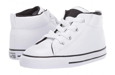 [ Hot Deals ] Converse Kids Chuck Taylor All Star Street - Mid (Infant/Toddler) White/White/Black